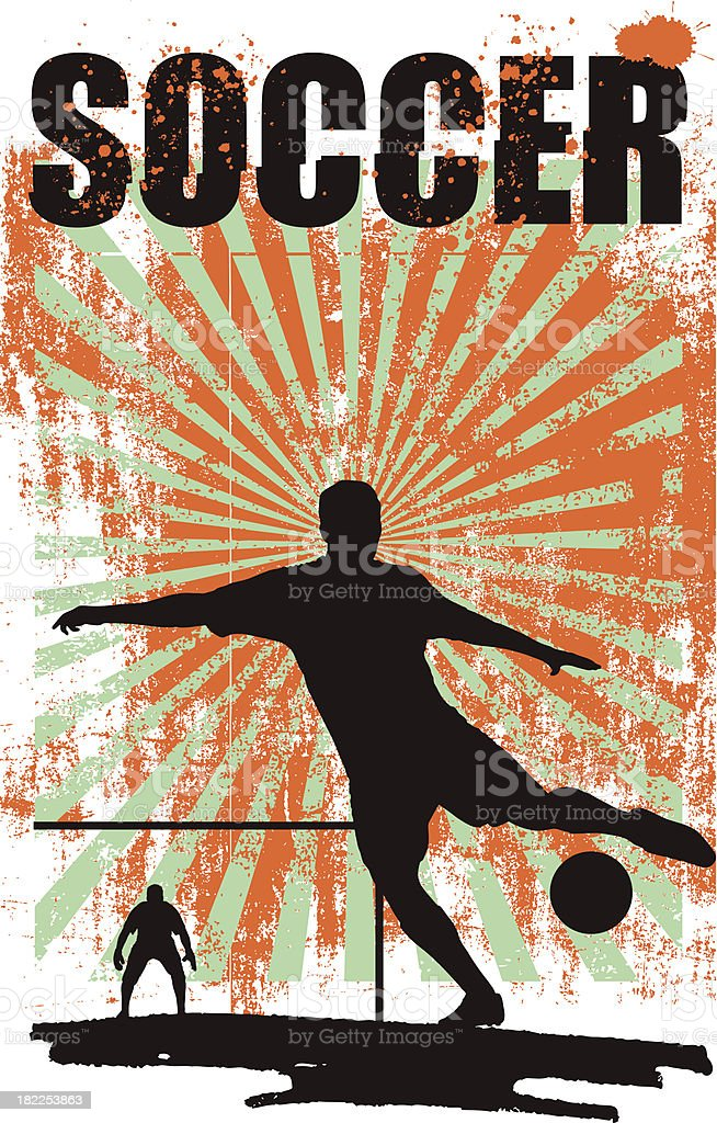 soccer background with best player shooting royalty-free stock vector art
