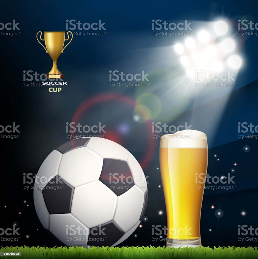 Soccer ball and a glass of beer in the stadium. vector art illustration