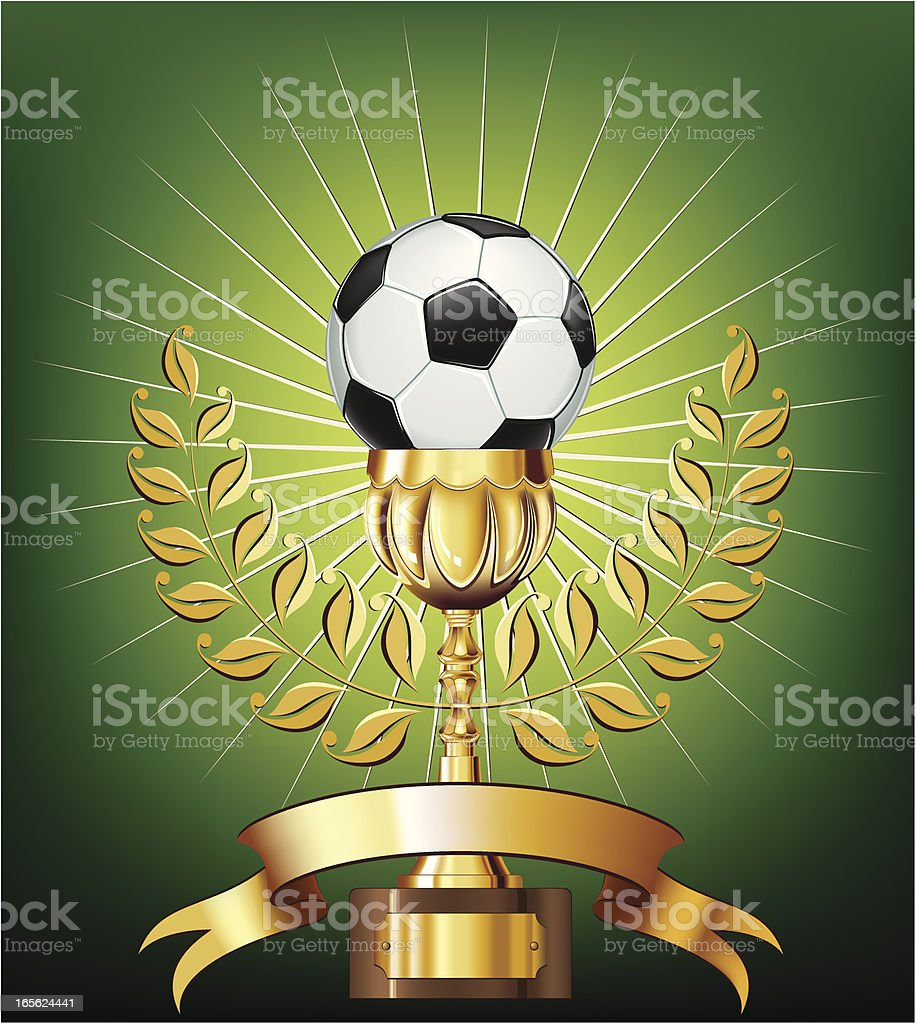 Soccer ball and gold cup with laurel royalty-free stock vector art