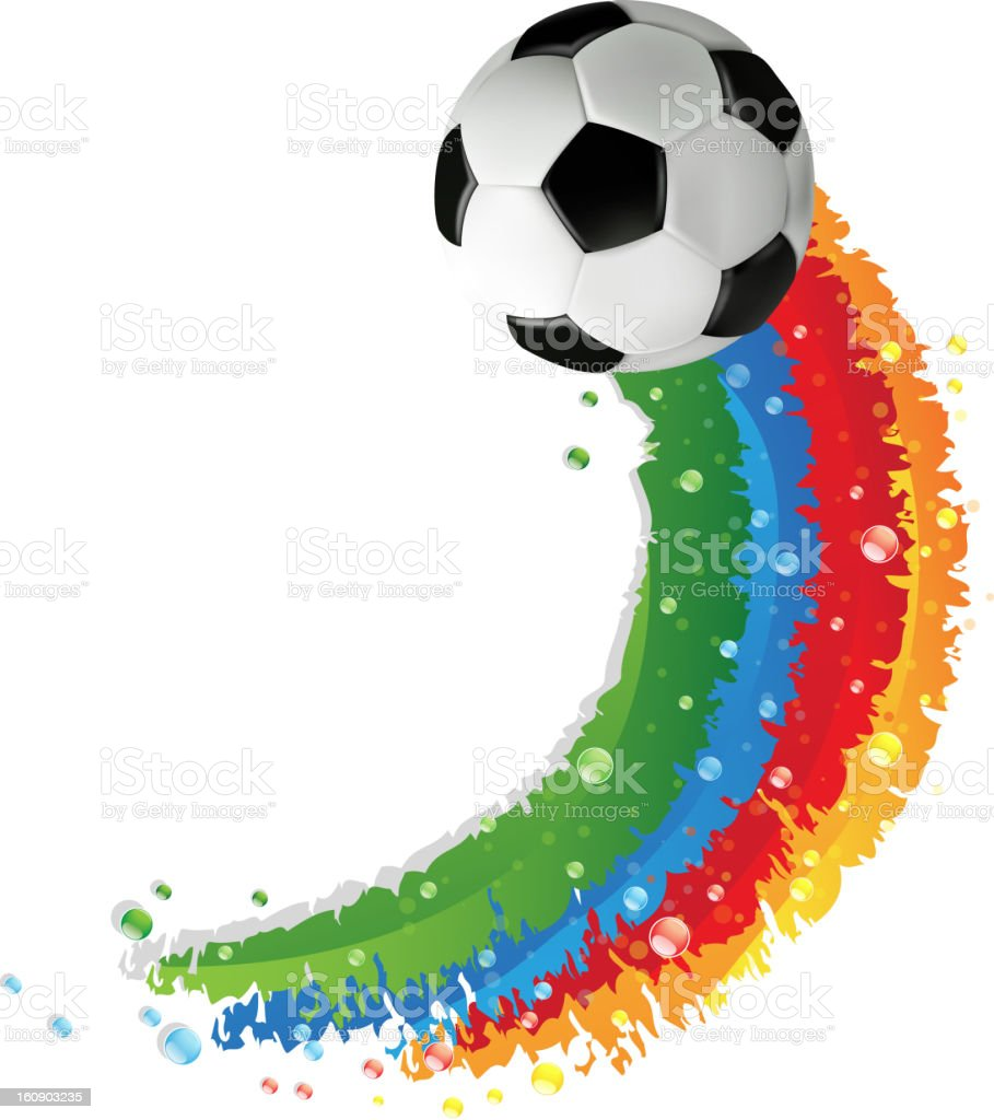 Soccer ball and rainbow trail royalty-free stock vector art