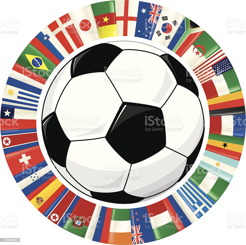 Soccer Ball and Ring of World Flags royalty-free stock vector art