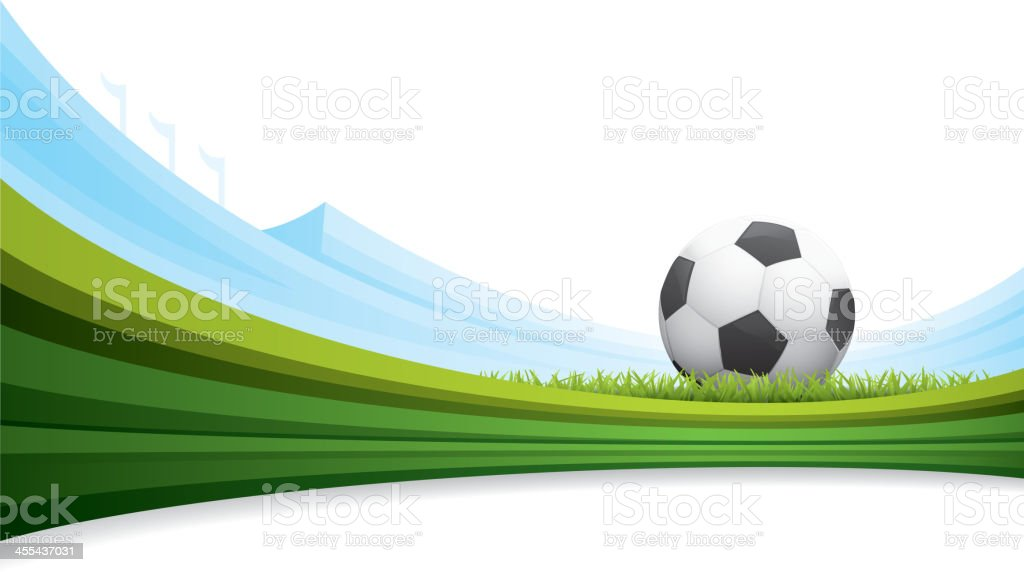 A soccer ball background with green striped grass vector art illustration