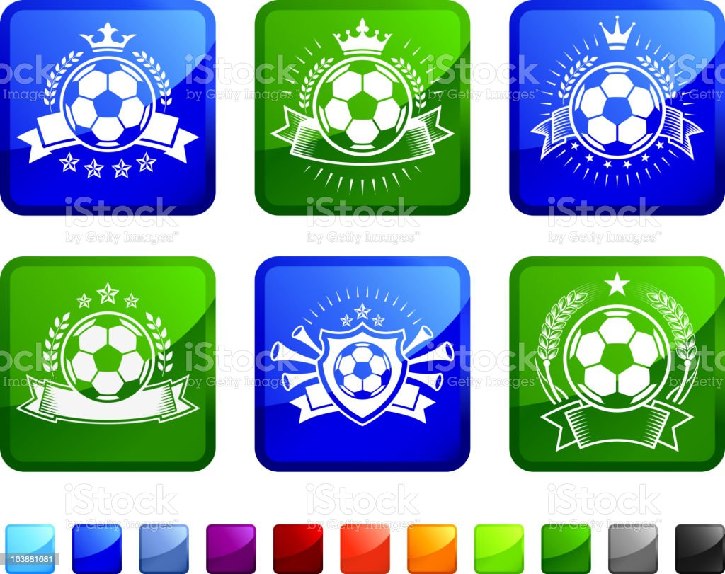Soccer Ball Badges royalty free vector icon set stickers royalty-free stock vector art