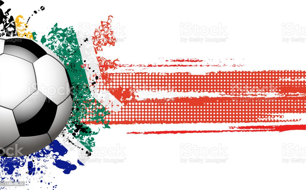 Soccer ball banner with South African flag royalty-free stock vector art