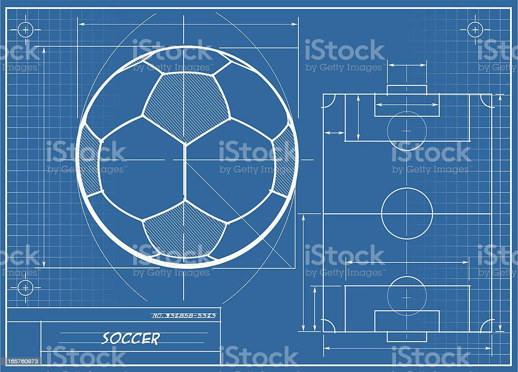 Soccer Ball Blueprint vector art illustration