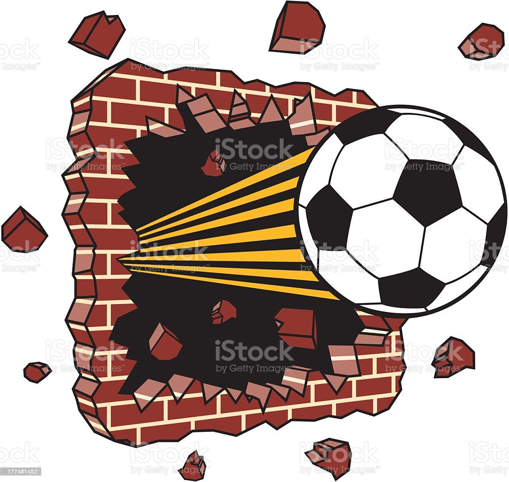 Soccer Ball Breaking Through Wall royalty-free stock vector art