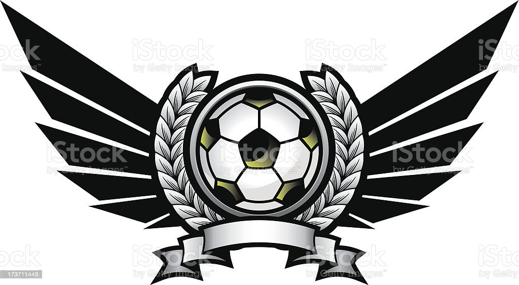 Soccer ball emblem with wings royalty-free stock vector art