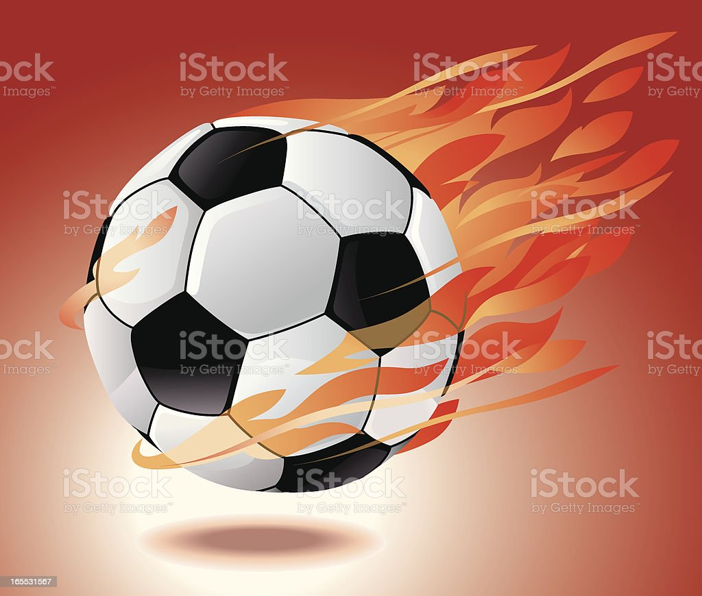 Soccer Ball Engulfed in Fire Vector vector art illustration