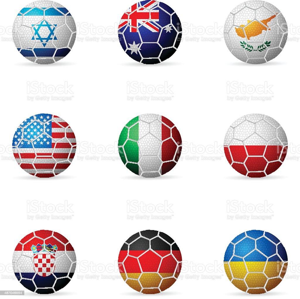 soccer ball flag vector art illustration