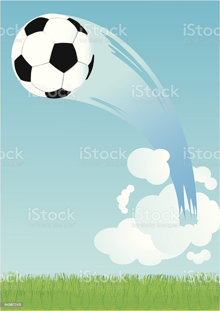 soccer ball flying trough the clouds vector art illustration