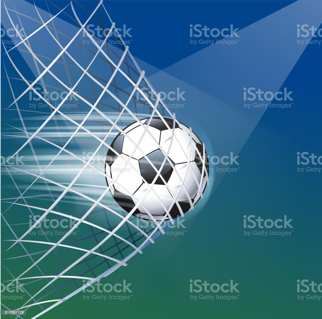 soccer ball goal vector art illustration