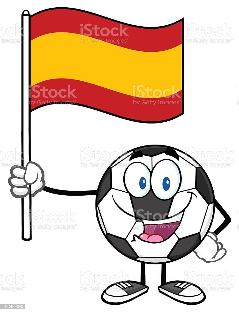 Soccer Ball Holding A Flag of Spain vector art illustration