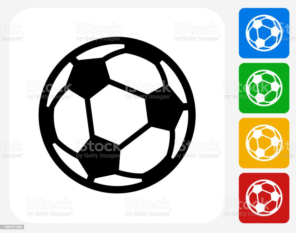 Soccer Ball Icon Flat Graphic Design vector art illustration