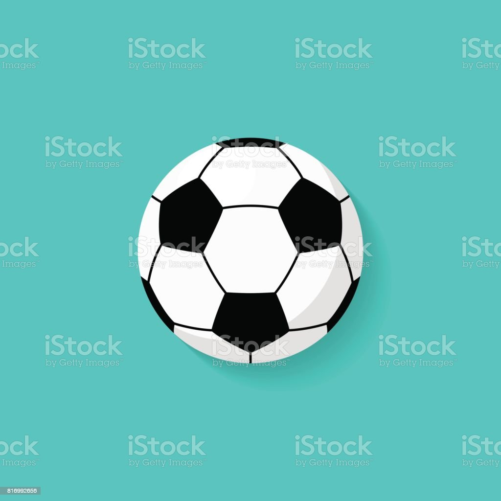 Soccer ball icon in flat style vector art illustration