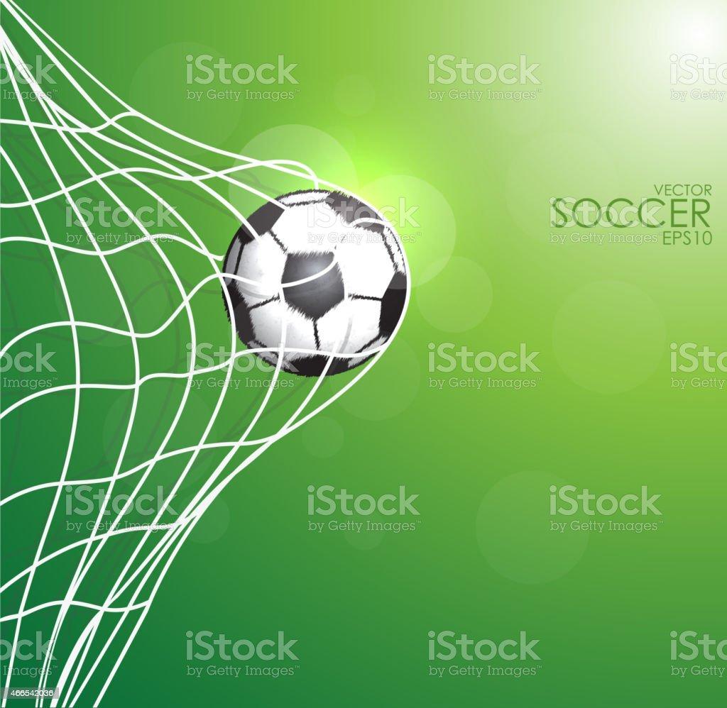 soccer ball in the net on green background. vector art illustration