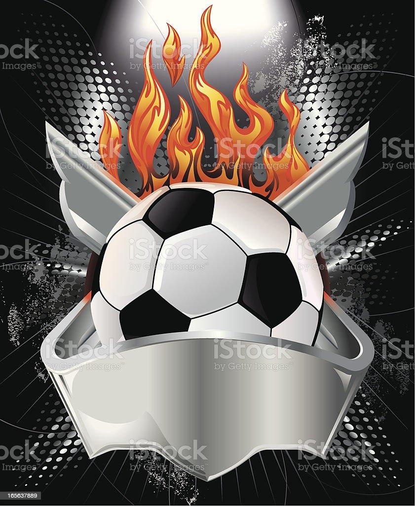 Soccer Ball, Metallic Crest and Fire Vector vector art illustration