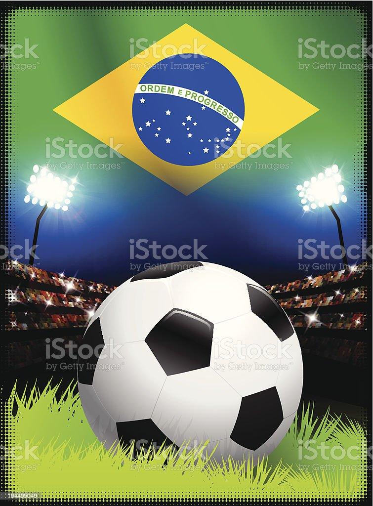 Soccer Ball on Brazil Stadium Background royalty-free stock vector art
