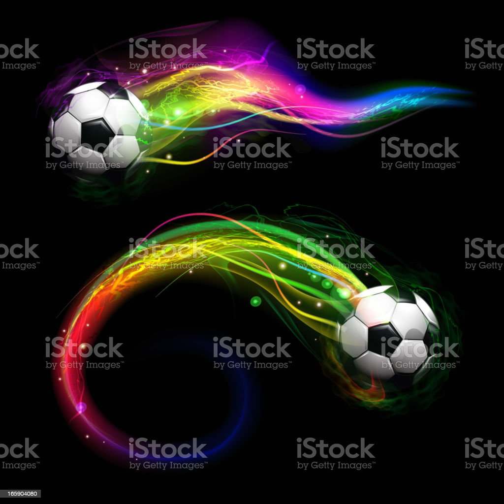 Soccer ball on colorful lightning way royalty-free stock vector art