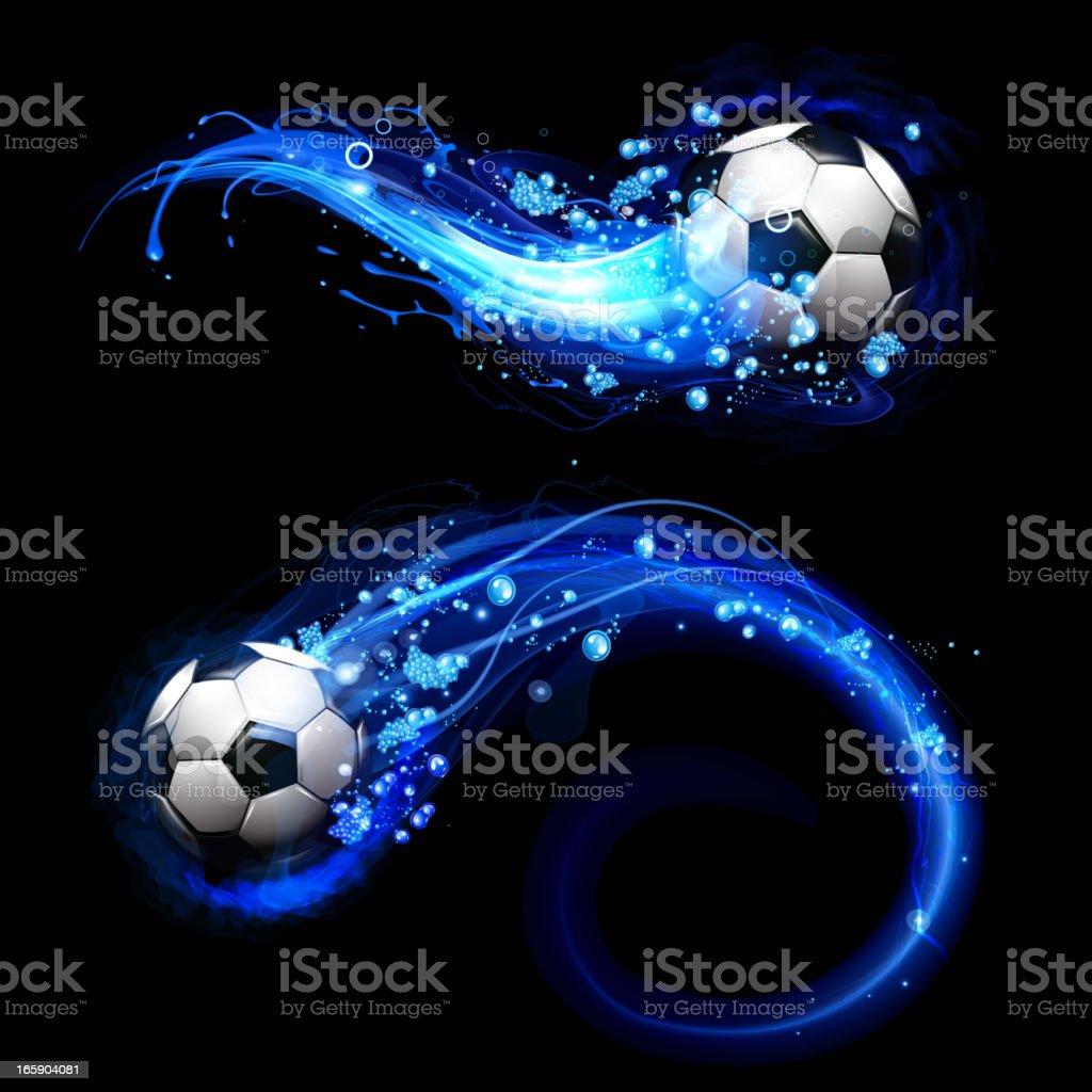 Soccer ball on drops water trail vector art illustration