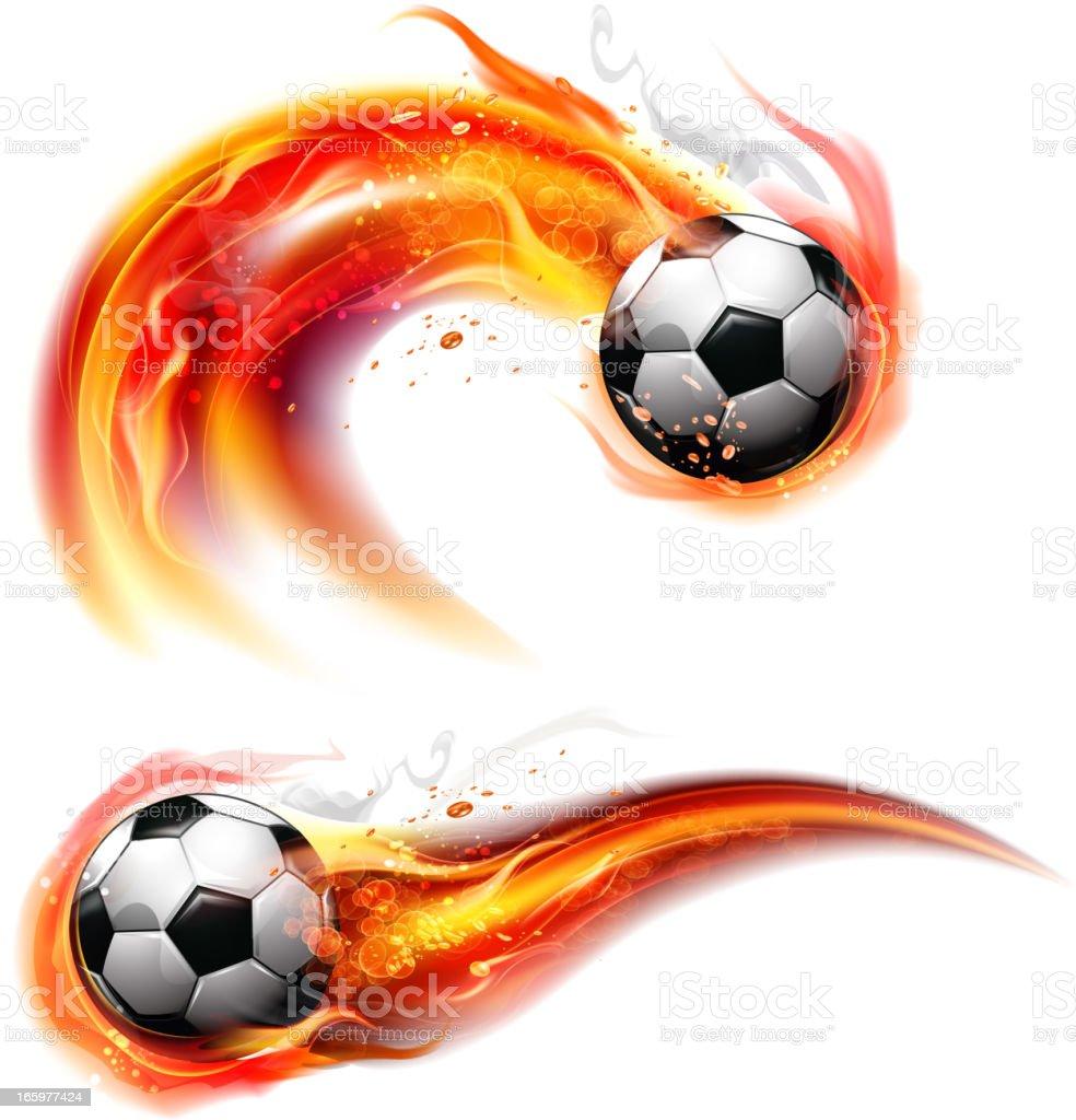Soccer ball on fire trail vector art illustration