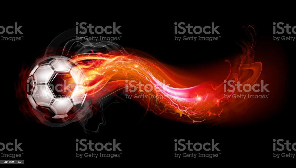 Soccer ball on fire royalty-free stock vector art