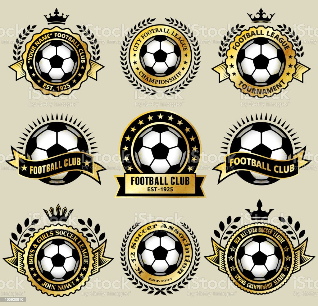 Soccer Ball on Gold Badges royalty free vector icon set royalty-free stock vector art