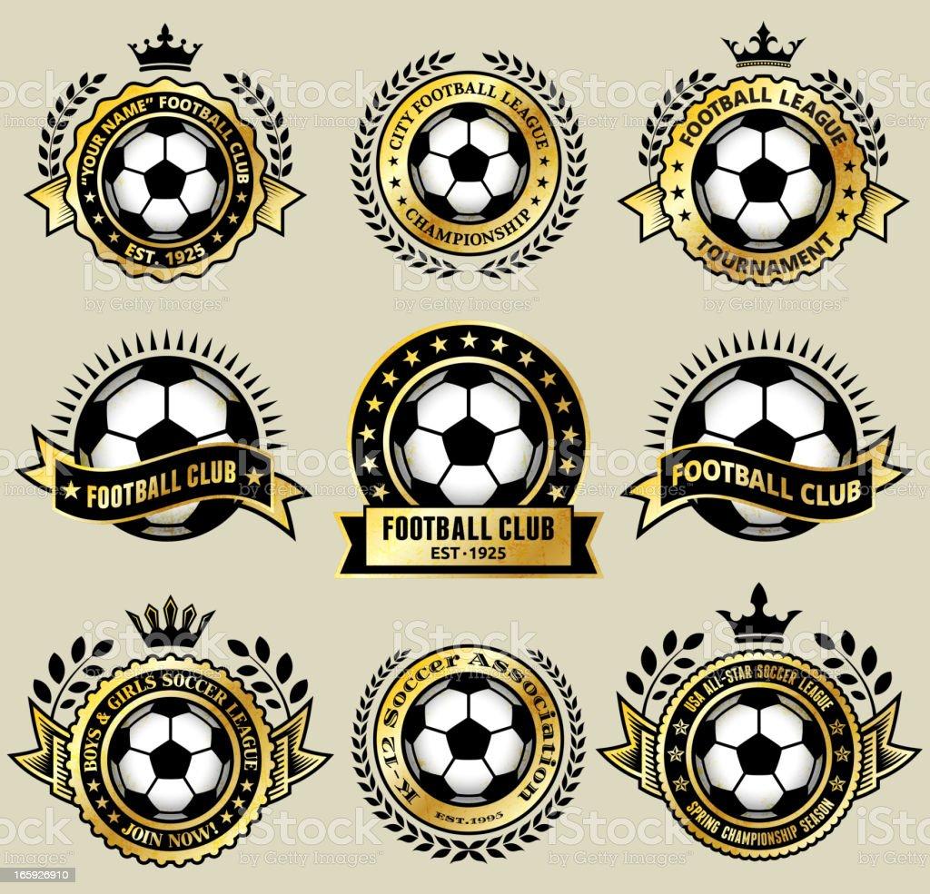Soccer Ball on Gold Badges royalty free vector icon set vector art illustration