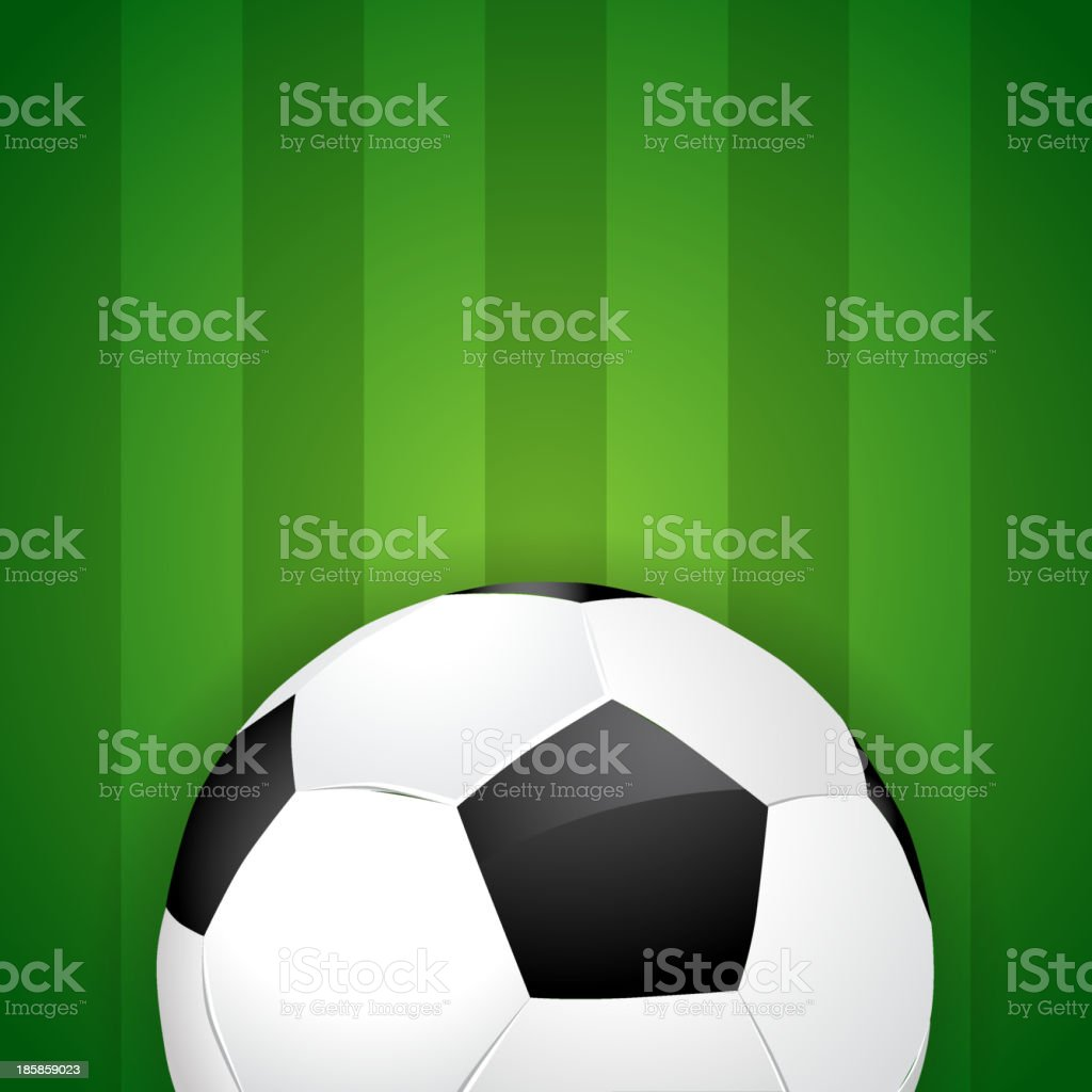 Soccer ball on green field background - vector eps10 royalty-free stock vector art