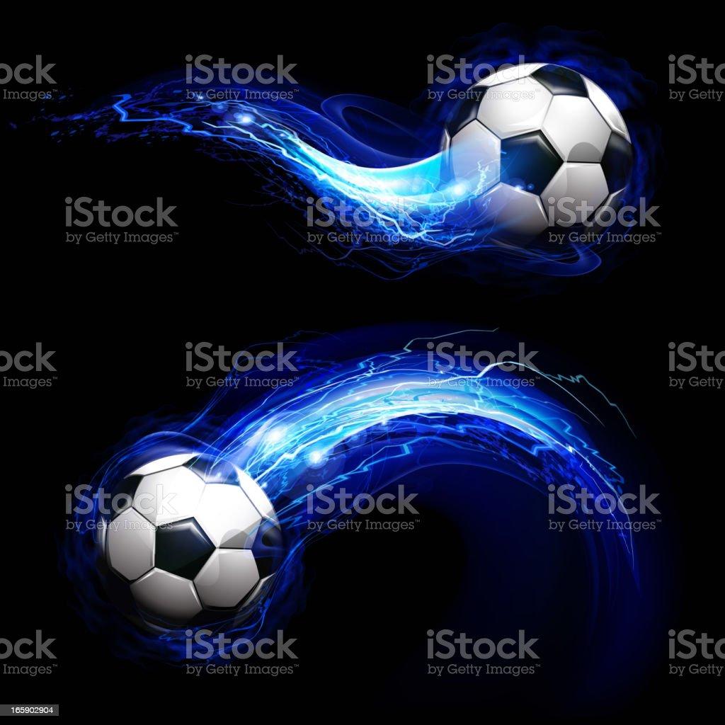 Soccer ball on lightning way trail royalty-free stock vector art