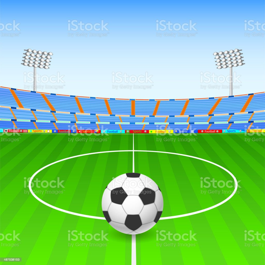 Soccer ball on stadium vector art illustration