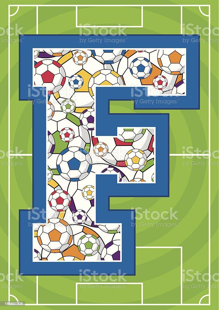 Soccer Ball Patterned Learning Letter F royalty-free stock vector art