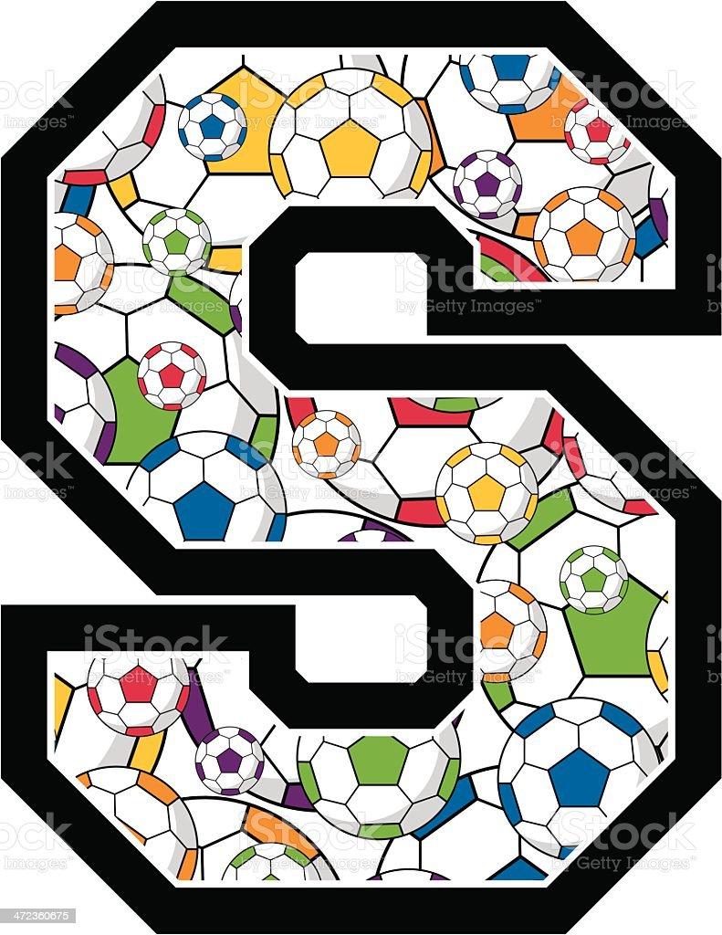 Soccer Ball Patterned Learning Letter S royalty-free stock vector art