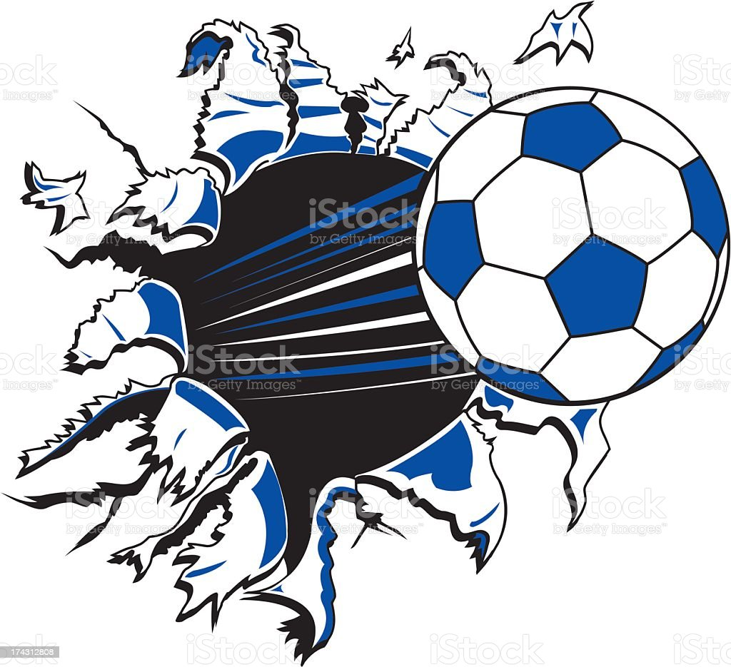 Soccer Ball Ripping Through Paper royalty-free stock vector art