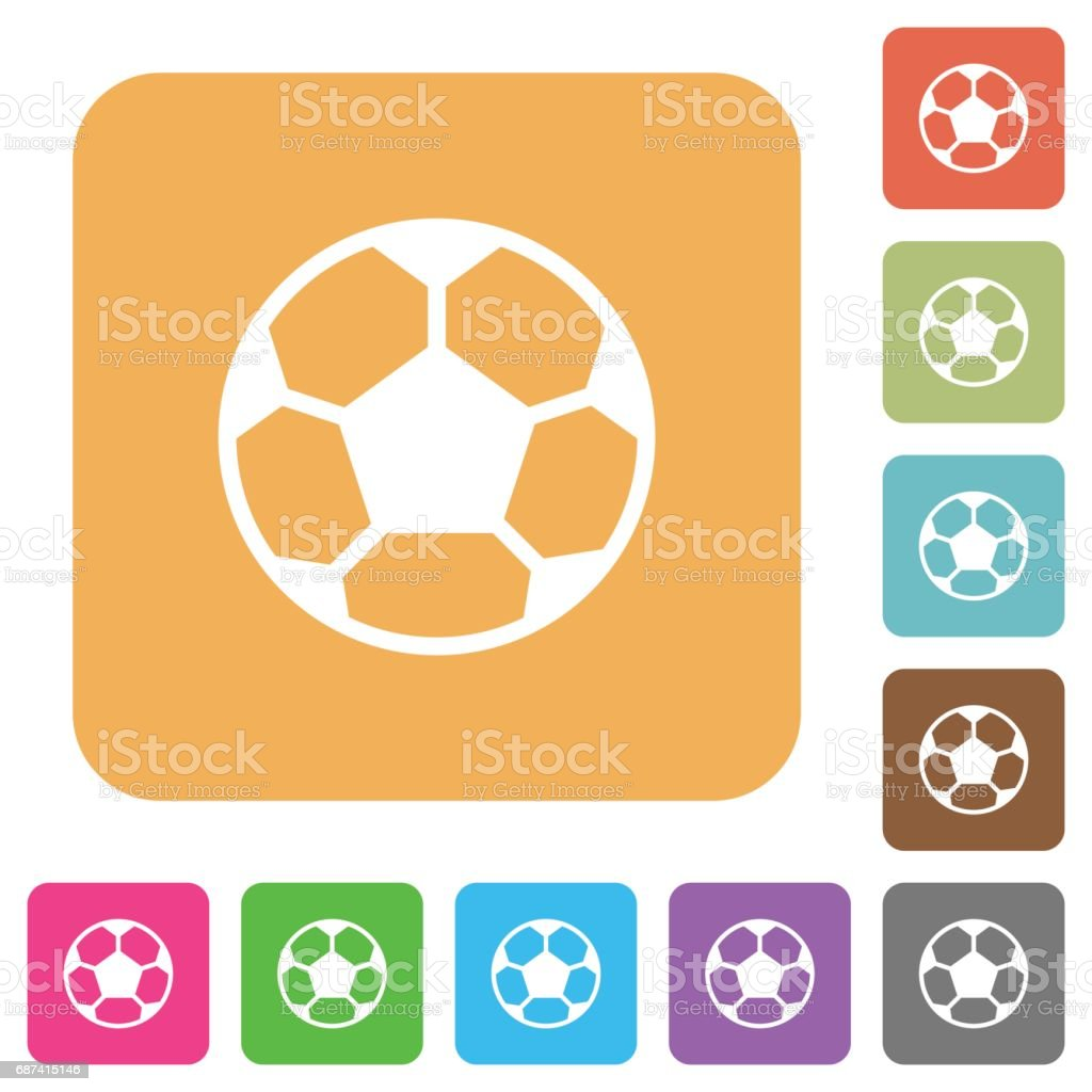 Soccer ball rounded square flat icons vector art illustration