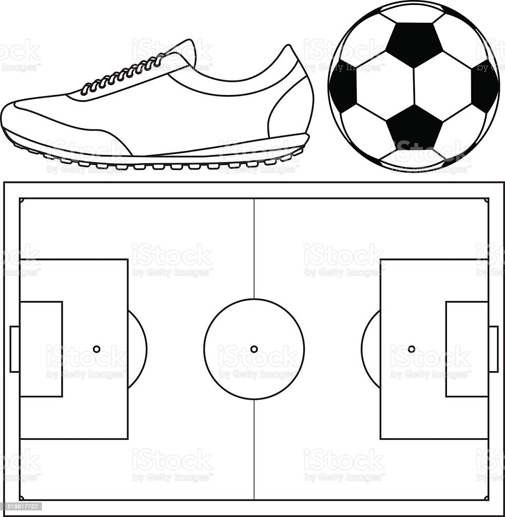 Soccer ball, Running shoes. Football field  top view vector art illustration