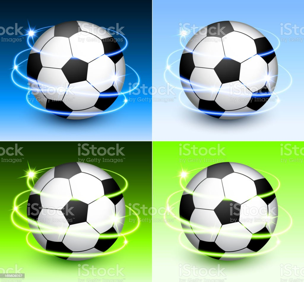 Soccer Ball with Abstract Lights on Color Background royalty-free stock vector art