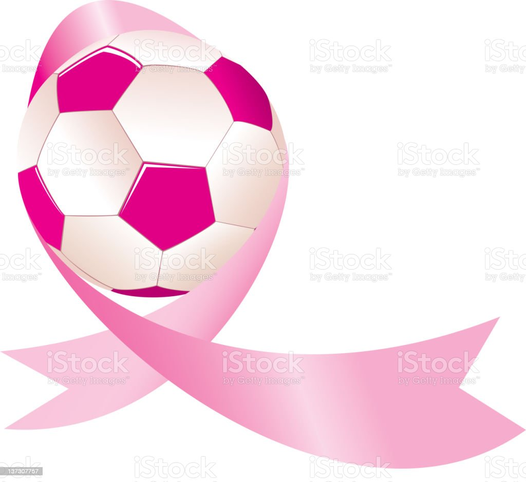 Soccer Ball with Breast Cancer Awareness Ribbon royalty-free stock vector art