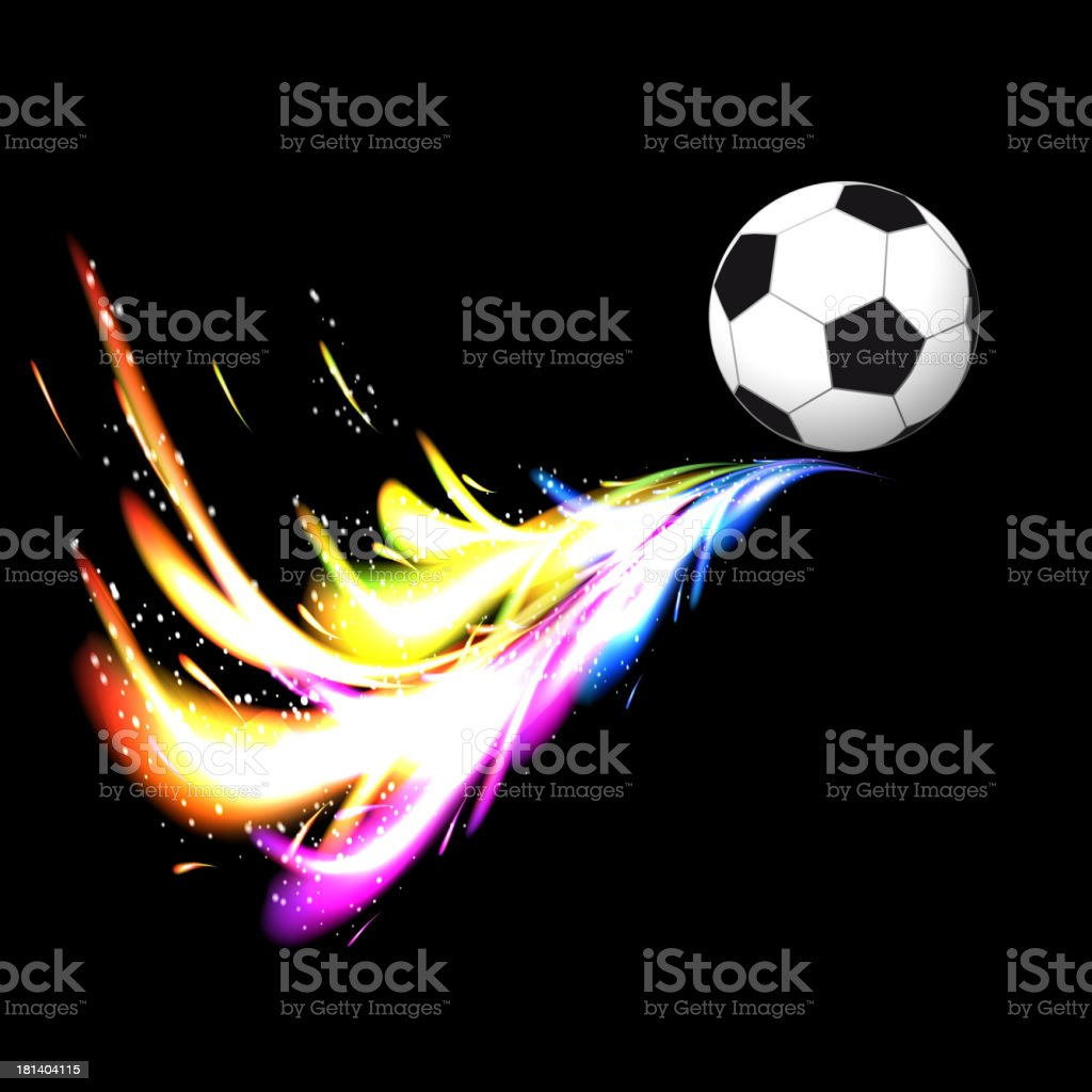 Soccer ball with colorful glow royalty-free stock vector art