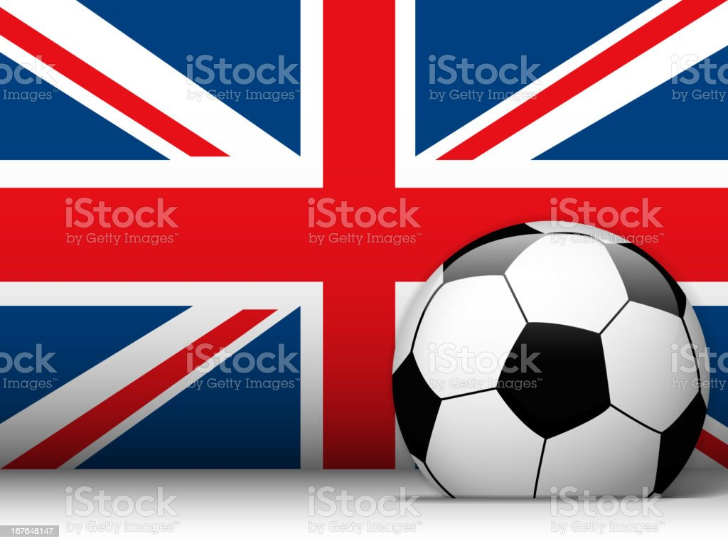 UK Soccer Ball with Flag Background royalty-free stock vector art