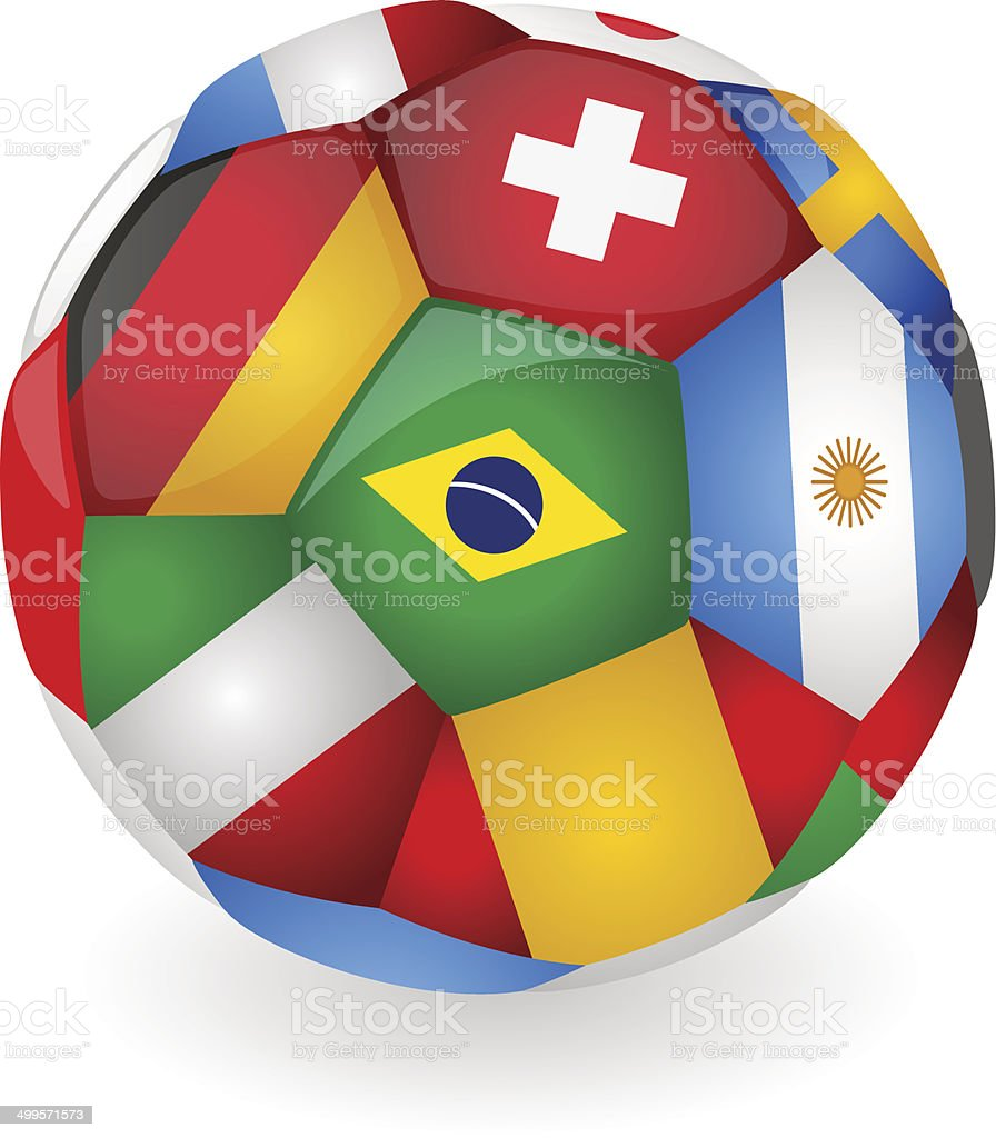 Soccer ball with flags vector art illustration