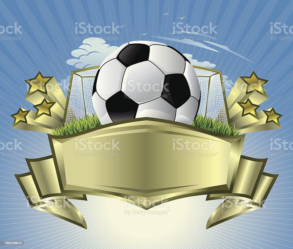 Soccer Ball with Golden Crest Vector vector art illustration