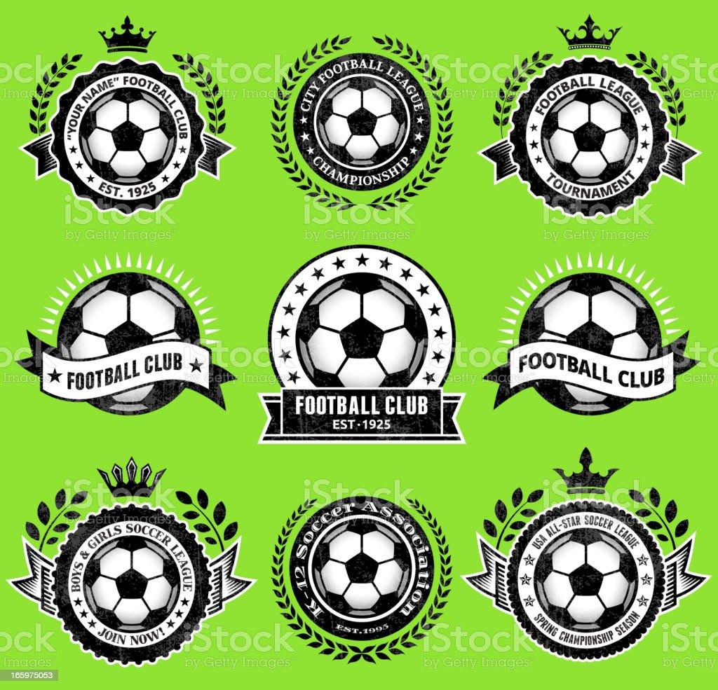 Soccer Ballblack & white Badges vector icon set vector art illustration
