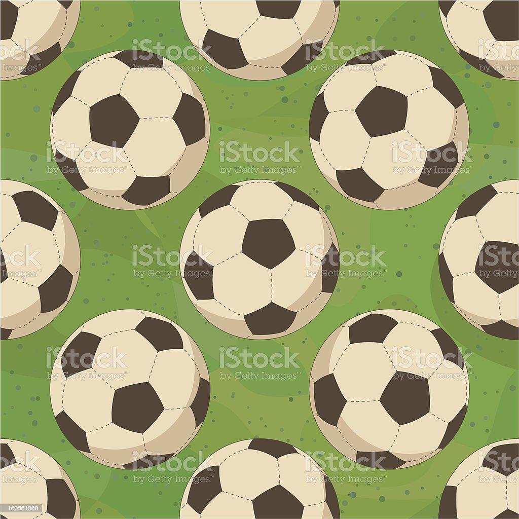 Soccer balls on grass, seamless royalty-free stock vector art