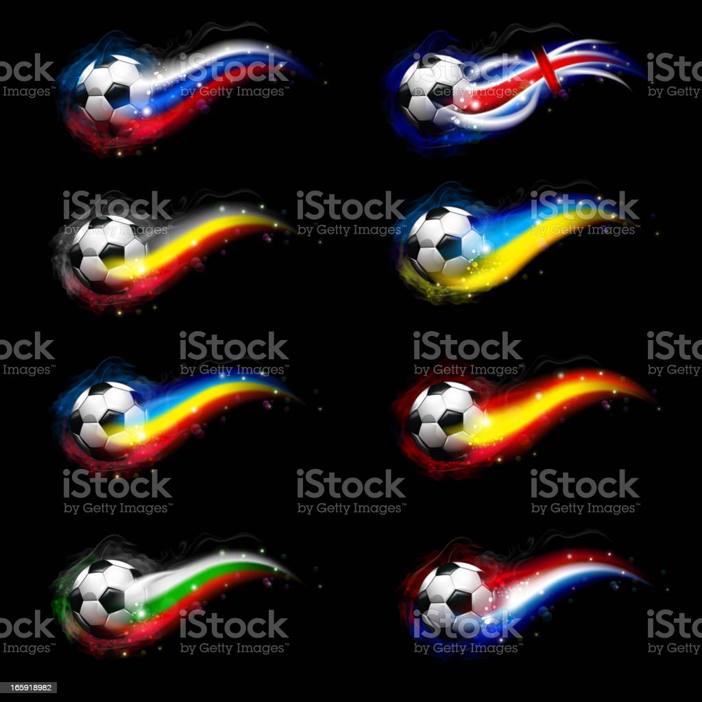 Soccer balls with flags vector art illustration