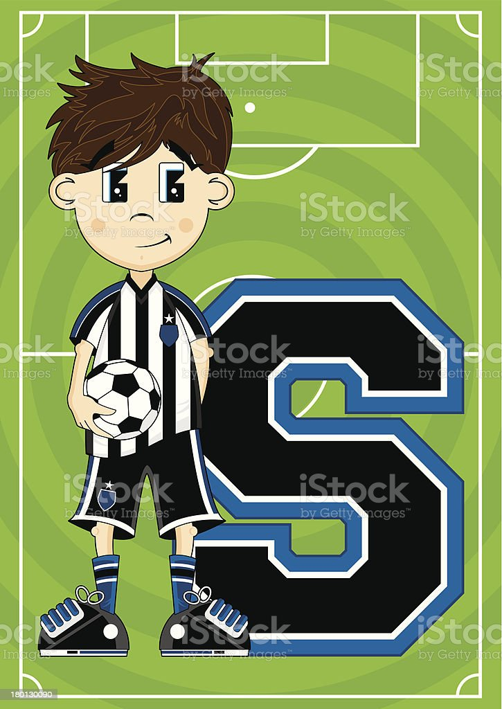 Soccer Boy Learning Letter S royalty-free stock vector art