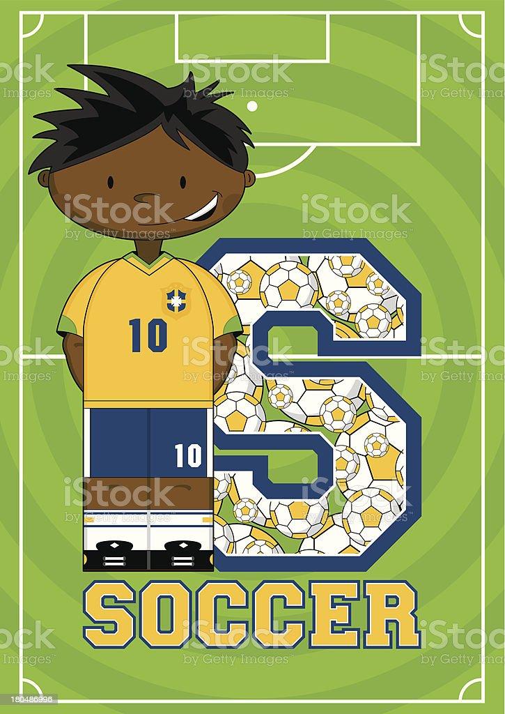 Soccer Boy Learning Letter S royalty-free stock vector art