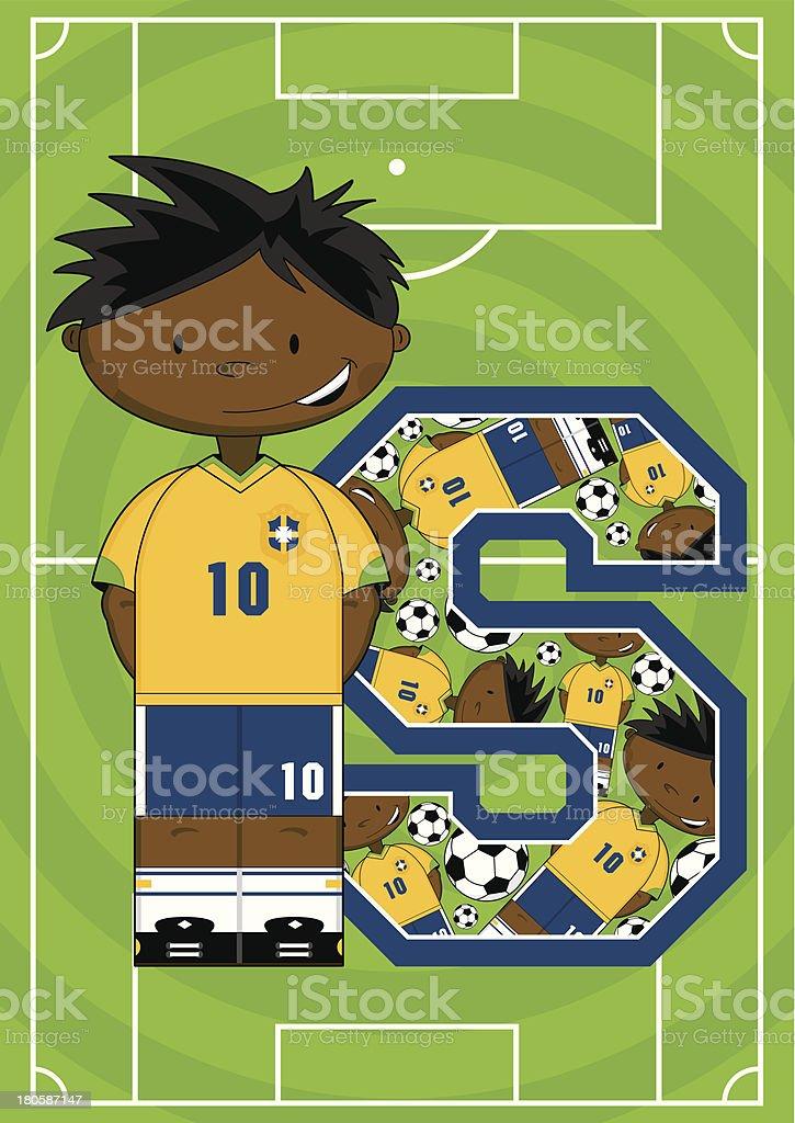 Soccer Boy Learning Letter S vector art illustration