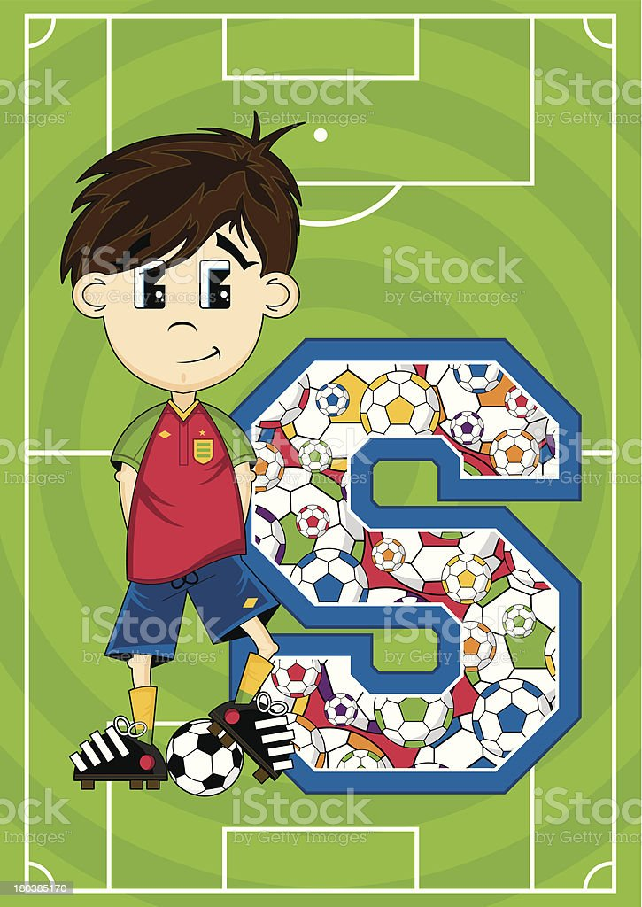 Soccer Boy Patterned Learning Letter S royalty-free stock vector art