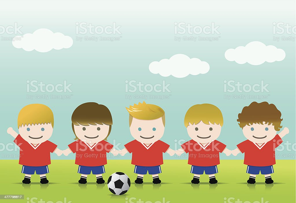 Soccer Boys Blond Brown royalty-free stock vector art