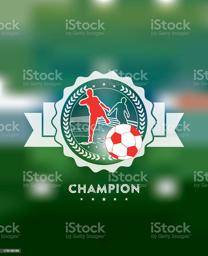 soccer champion icon on blurred background vector art illustration